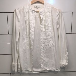 madewell pleated button up top size small